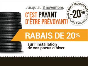 20% de rabais sur l'installation de vos pneus d'hiver! chez Avantage Honda à Shawinigan