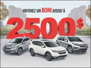 Camions et VUS: Jusqu'à 2500$ de BONI! chez Avantage Honda à Shawinigan