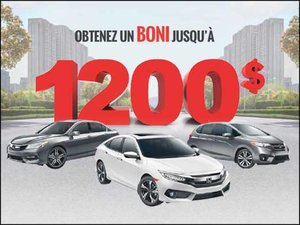 Autos: Jusqu'à 1200$ de BONI! chez Avantage Honda à Shawinigan