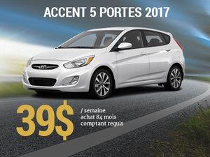 Roulez en Hyundai Accent 5 portes 2017 pour 39$/semaine chez Groupe Vincent à Shawinigan et Trois-Rivières
