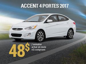 45$ par semaine pour une Hyundai Accent 4 portes 2017 chez Hyundai Trois-Rivières à Trois-Rivières