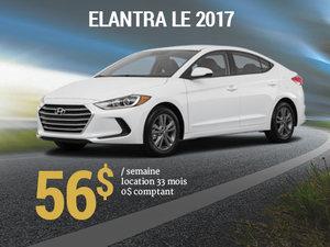 Roulez avec la Hyundai Elantra LE 2017 pour seulement 56$/sem. chez Hyundai Trois-Rivières à Trois-Rivières