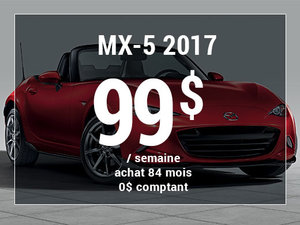 Roulez en Mazda MX-5 2017 à partir de 99$/sem. chez Groupe Vincent à Shawinigan et Trois-Rivières