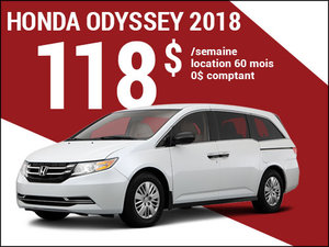 118$ par semaine pour louer la Honda Odyssey 2018 chez Avantage Honda à Shawinigan