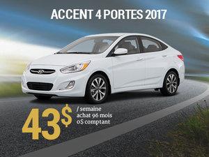 43$ par semaine pour une Hyundai Accent 4 portes 2017 chez Hyundai Trois-Rivières à Trois-Rivières