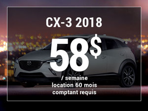 Roulez en Mazda CX-3 2018 à partir de 58$/sem chez Prestige Mazda à Shawinigan