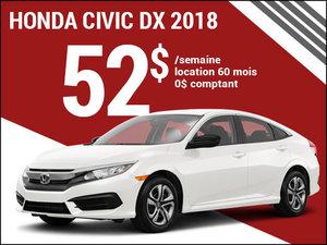La Honda Civic 2018 pour 52$ par semaine chez Avantage Honda à Shawinigan