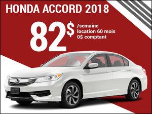 82$ par semaine pour la nouvelle Honda Accord 2018 chez Avantage Honda à Shawinigan