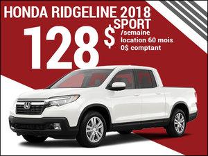 Le nouveau Honda Ridgeline Sport 2018 à 128$ par semaine chez Avantage Honda à Shawinigan