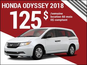 125$ par semaine pour louer la Honda Odyssey 2018 chez Avantage Honda à Shawinigan