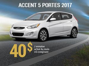 Roulez en Hyundai Accent 5 portes 2017 pour 40$/semaine chez Hyundai Trois-Rivières à Trois-Rivières
