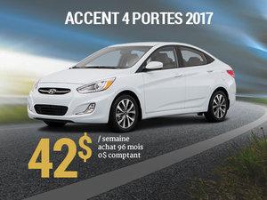 42$ par semaine pour une Hyundai Accent 4 portes 2017 chez Hyundai Trois-Rivières à Trois-Rivières