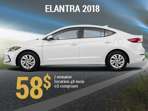 Roulez avec la nouvelle Hyundai Elantra GL 2018 pour seulement 58$/sem chez Hyundai Trois-Rivières à Trois-Rivières