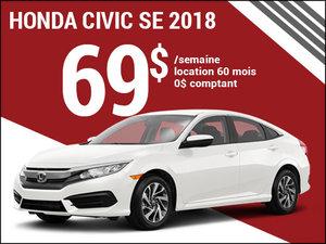 La Honda Civic SE 2018 pour 69$ par semaine chez Avantage Honda à Shawinigan