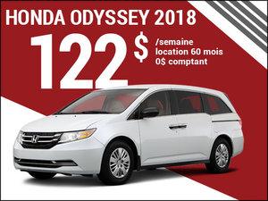 122$ par semaine pour louer la Honda Odyssey 2018 chez Avantage Honda à Shawinigan