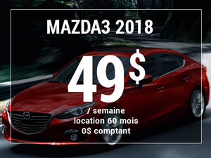 Roulez en Mazda3 2018 à partir de 49$ / semaine chez Prestige Mazda à Shawinigan