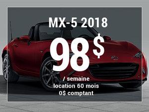 Roulez en Mazda MX-5 2018 à partir de 98$/sem. chez Prestige Mazda à Shawinigan