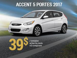 Roulez en Hyundai Accent 5 portes 2017 pour 39$/semaine chez Hyundai Trois-Rivières à Trois-Rivières