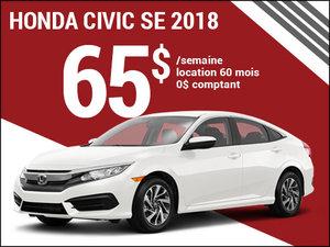 La Honda Civic SE 2018 pour 65$ par semaine chez Avantage Honda à Shawinigan