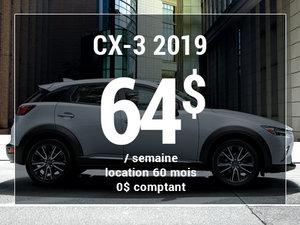 Roulez en Mazda CX-3 2019 à partir de 64$/sem chez Prestige Mazda à Shawinigan