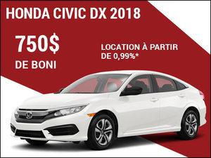 Rabais de 750$ sur la Honda Civic 2018 chez Avantage Honda à Shawinigan