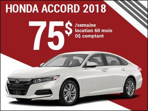 75$ par semaine pour la nouvelle Honda Accord 2018 chez Avantage Honda à Shawinigan