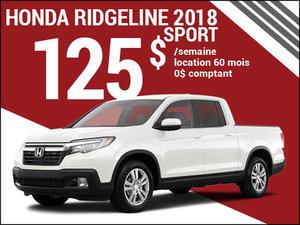 Le nouveau Honda Ridgeline Sport 2018 à 125$ par semaine chez Avantage Honda à Shawinigan
