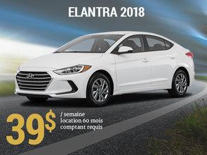 Roulez avec la nouvelle Hyundai Elantra L 2018 pour seulement 39$/sem chez Hyundai Trois-Rivières à Trois-Rivières