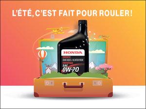 Vidange d'huile synthétique + changement de filtre pour 67$ chez Avantage Honda à Shawinigan