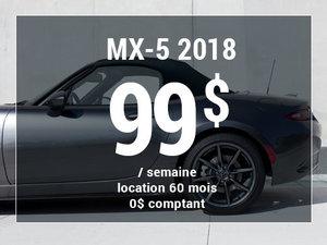 Roulez en Mazda MX-5 2018 à partir de 99$/sem. chez Prestige Mazda à Shawinigan