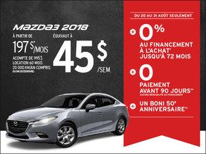 Mazda3 2018: AUCUN paiement avant 90 jours! chez Prestige Mazda à Shawinigan