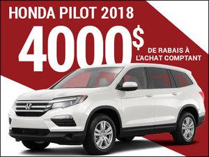 Rabais de 4 000$ sur le Honda Pilot 2018 chez Avantage Honda à Shawinigan