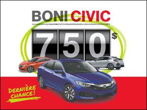Civic 2018: Location 0,99% sur 48 mois + Boni de 750$! chez Avantage Honda à Shawinigan