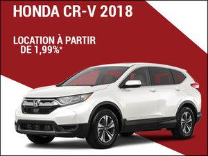 Découvrez le Honda CR-V 2018 à partir de seulement 1,99% d'intérêt! chez Avantage Honda à Shawinigan