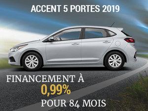 Roulez en Hyundai Accent 5 portes 2019 sur 84 mois chez Hyundai Trois-Rivières à Trois-Rivières