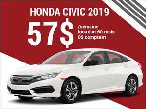 La Honda Civic 2019 pour 57$ par semaine chez Avantage Honda à Shawinigan