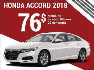 76$ par semaine pour la Honda Accord 2018 chez Avantage Honda à Shawinigan