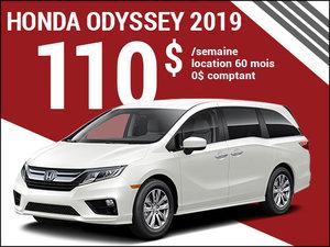 110$ par semaine pour louer la Honda Odyssey 2019 chez Avantage Honda à Shawinigan