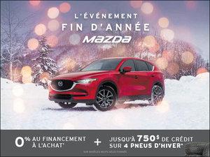 0% financement à l'achat + 750$ de crédit sur 4 pneus d'hiver! chez Prestige Mazda à Shawinigan