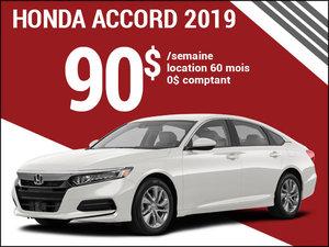 90$ par semaine pour la Honda Accord 2019 chez Avantage Honda à Shawinigan