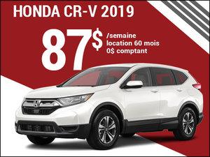 Découvrez le Honda CR-V 2019 pour 87$ par semaine chez Avantage Honda à Shawinigan