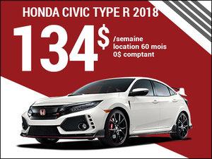 La Honda Civic TYPE R 2018 pour 134$ par semaine chez Avantage Honda à Shawinigan