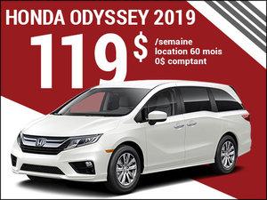 119$ par semaine pour louer la Honda Odyssey 2019 chez Avantage Honda à Shawinigan