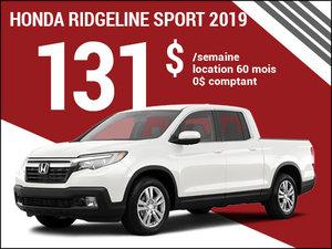 Le nouveau Honda Ridgeline Sport 2019 à 131$ par semaine chez Avantage Honda à Shawinigan