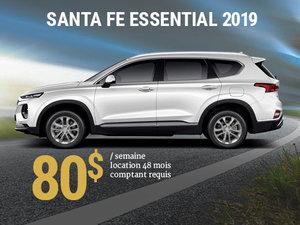 Roulez avec le nouveau Hyundai Santa Fe Essential 2019 à partir de 80$/sem. chez Hyundai Shawinigan à Shawinigan