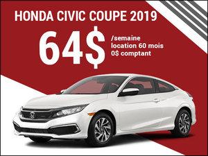 La Honda Civic Coupé 2019 pour 64$ par semaine chez Avantage Honda à Shawinigan