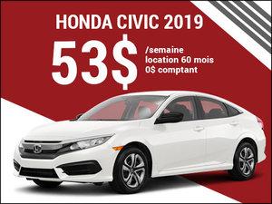 La Honda Civic 2019 pour 53$ par semaine chez Avantage Honda à Shawinigan