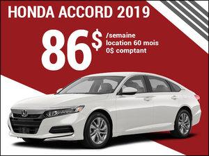 86$ par semaine pour la Honda Accord 2019 chez Avantage Honda à Shawinigan
