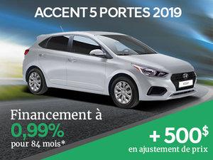 Ajustement de prix de 500$ sur la Hyundai Accent 5 portes 2019 chez Hyundai Trois-Rivières à Trois-Rivières
