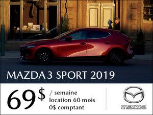 Roulez en Mazda3 SPORT 2019 à partir de 69$ / semaine chez Prestige Mazda à Shawinigan